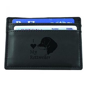 Slim Wallet with Money Clip  - I Love My Rottweiler