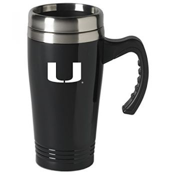 University of Miami-16 oz. Stainless Steel Mug-Black