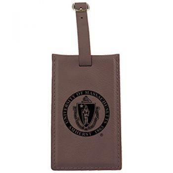 University of Massachusetts, Amherst-Leatherette Luggage Tag-Brown