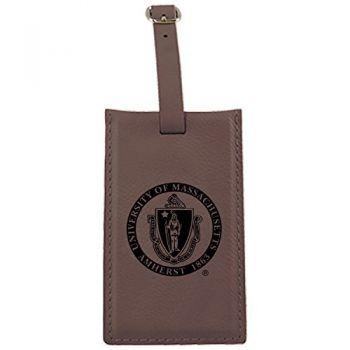 University of Massachusetts, Amherst-Leatherette Luggage Tag-Brown