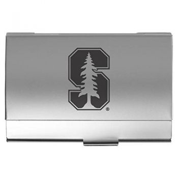 Stanford University - Two-Tone Business Card Holder - Silver