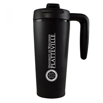 University of Wisconsin-Platteville-16 oz. Travel Mug Tumbler with Handle-Black