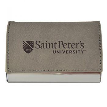 Velour Business Cardholder-Saint Peter's University-Grey