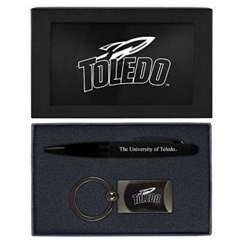 University of Toledo -Executive Twist Action Ballpoint Pen Stylus and Gunmetal Key Tag Gift Set-Black