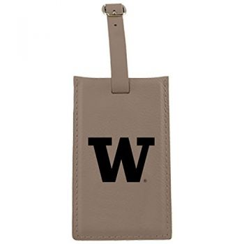 University of Washington-Leatherette Luggage Tag-Tan