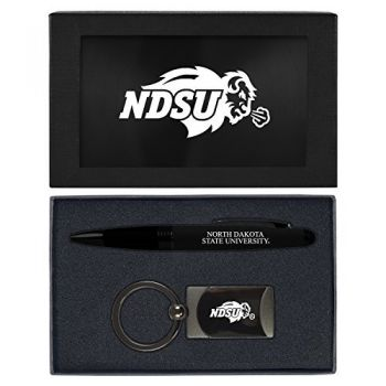 North Dakota State University -Executive Twist Action Ballpoint Pen Stylus and Gunmetal Key Tag Gift Set-Black