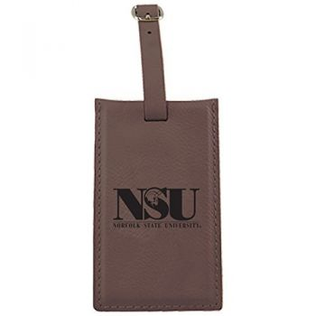 Norfolk State University -Leatherette Luggage Tag-Brown