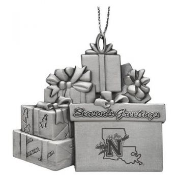 Northwestern State University - Pewter Gift Package Ornament