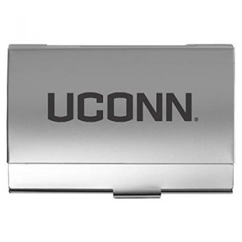 University of Connecticut - Two-Tone Business Card Holder - Silver
