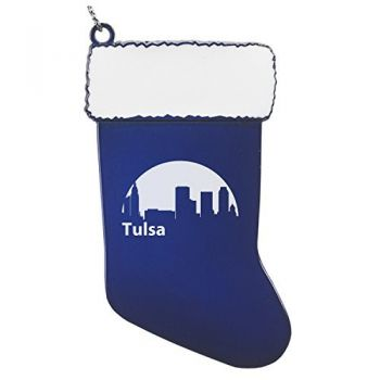 Pewter Stocking Christmas Ornament - Tulsa City Skyline