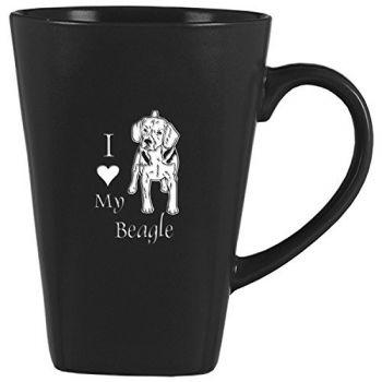 14 oz Square Ceramic Coffee Mug  - I Love My Beagle