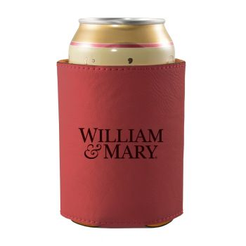 College of William & Mary-Leatherette Beverage Can Cooler-Burgundy