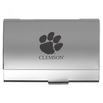 Clemson University - Two-Tone Business Card Holder - Silver