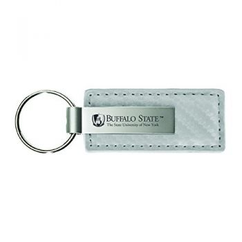 Buffalo State University-The State University of New York-Carbon Fiber Leather and Metal Key Tag-White