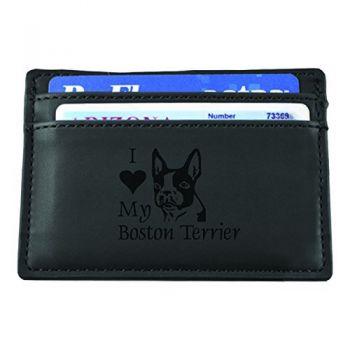 Slim Wallet with Money Clip  - I Love My Boston Terrier