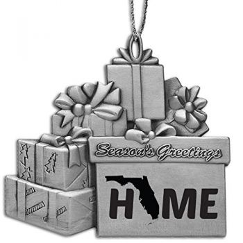 Florida-State Outline-Home-Pewter Gift Package Ornament-Silver