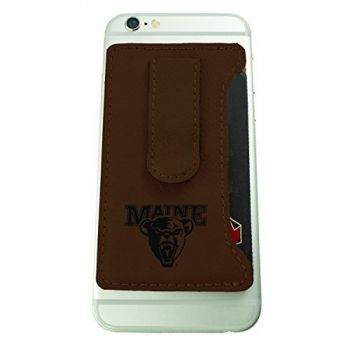 University of Maine-Leatherette Cell Phone Card Holder-Brown