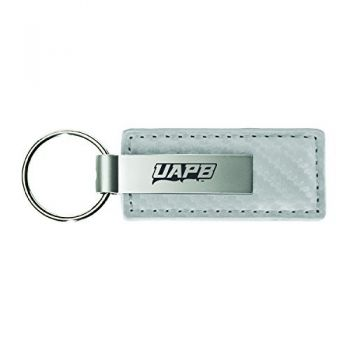 University of Arkansas at Pine Buff-Carbon Fiber Leather and Metal Key Tag-White