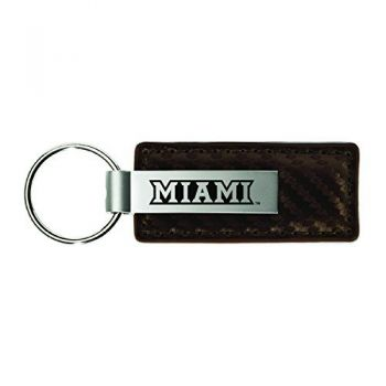 Miami University-Carbon Fiber Leather and Metal Key Tag-Taupe