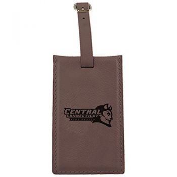 Central Connecticut University-Leatherette Luggage Tag-Brown
