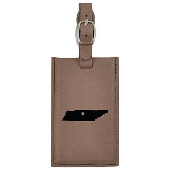 Tennessee-State Outline-Heart-Leatherette Luggage Tag -Brown