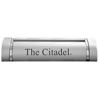 The Citadel-Desk Business Card Holder -Silver