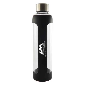 University of Alabama in Huntsville -Glass Water with Silicone Sleeve-20 oz.-Black