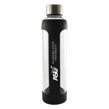 Alabama State University-Glass Water with Silicone Sleeve-20 oz.-Black