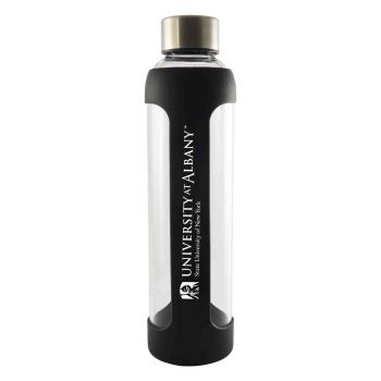 University of Albany-Glass Water with Silicone Sleeve-20 oz.-Black