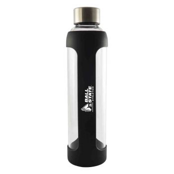 Ball State University-Glass Water with Silicone Sleeve-20 oz.-Black