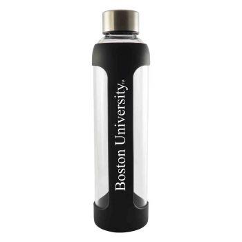 Boston University-Glass Water with Silicone Sleeve-20 oz.-Black
