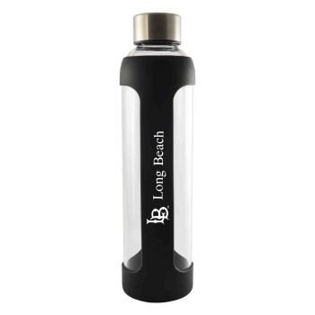 Long Beach State University-Glass Water with Silicone Sleeve-20 oz.-Black