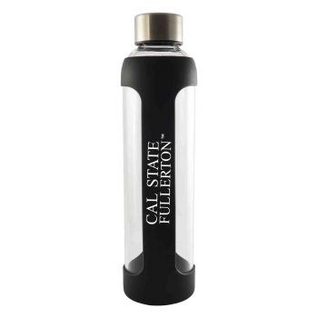 California State Univeristy Fullerton -Glass Water with Silicone Sleeve-20 oz.-Black