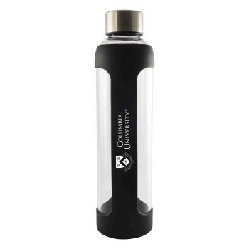 Columbia University-Glass Water with Silicone Sleeve-20 oz.-Black