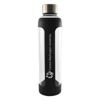 Central Washington University -Glass Water with Silicone Sleeve-20 oz.-Black