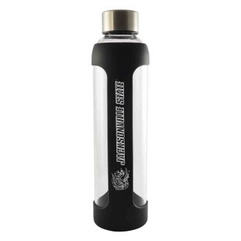 Jackson State University-Glass Water with Silicone Sleeve-20 oz.-Black
