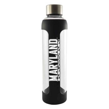University of Maryland-Glass Water with Silicone Sleeve-20 oz.-Black