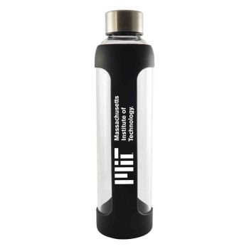 Massachusetts Institute of Technology -Glass Water with Silicone Sleeve-20 oz.-Black