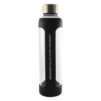 Mississippi Valley State University-Glass Water with Silicone Sleeve-20 oz.-Black