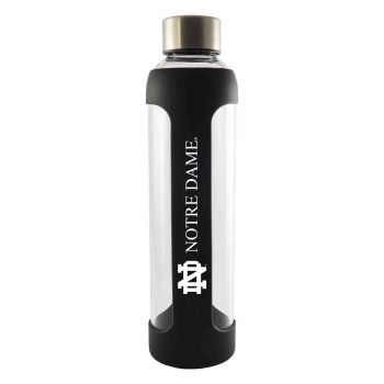 University of Notre Dame-Glass Water with Silicone Sleeve-20 oz.-Black