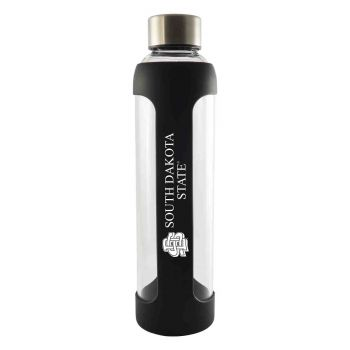 South Dakota State University -Glass Water with Silicone Sleeve-20 oz.-Black