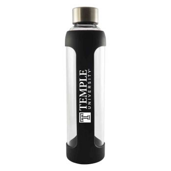 Temple University-Glass Water with Silicone Sleeve-20 oz.-Black