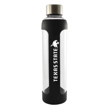 Texas State University-Glass Water with Silicone Sleeve-20 oz.-Black