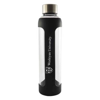 Wesleyan University -Glass Water with Silicone Sleeve-20 oz.-Black