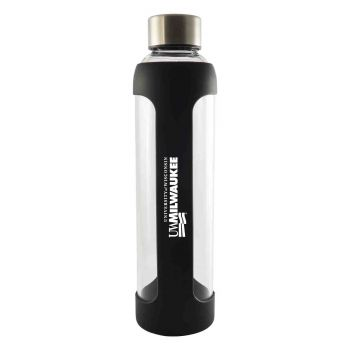 University of Wisconsin-Milwaukee-Glass Water with Silicone Sleeve-20 oz.-Black