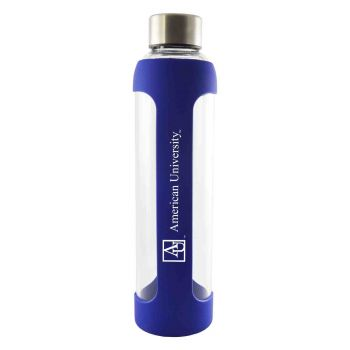 American University -Glass Water with Silicone Sleeve-20 oz.-Blue