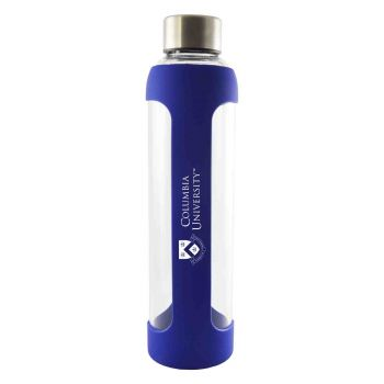 Columbia University -Glass Water with Silicone Sleeve-20 oz.-Blue