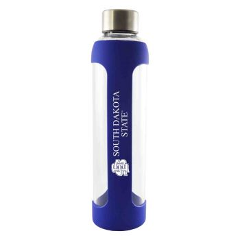 South Dakota State University -Glass Water with Silicone Sleeve-20 oz.-Blue