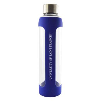 University of Saint Francis-Fort Wayne -Glass Water with Silicone Sleeve-20 oz.-Blue