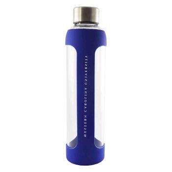 Western Carolina University -Glass Water with Silicone Sleeve-20 oz.-Blue